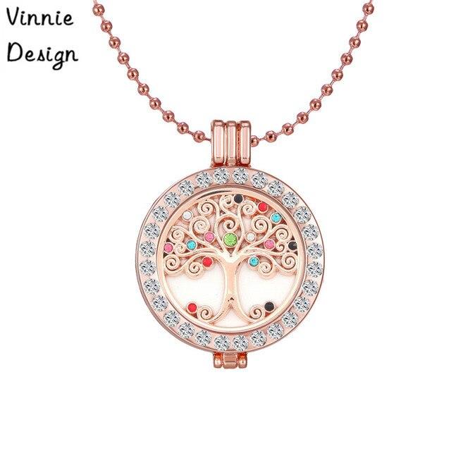 Vinnie design tree life coin pendant necklace with 35mm crystal coin vinnie design tree life coin pendant necklace with 35mm crystal coin holder locket 80cm bead chain aloadofball Images