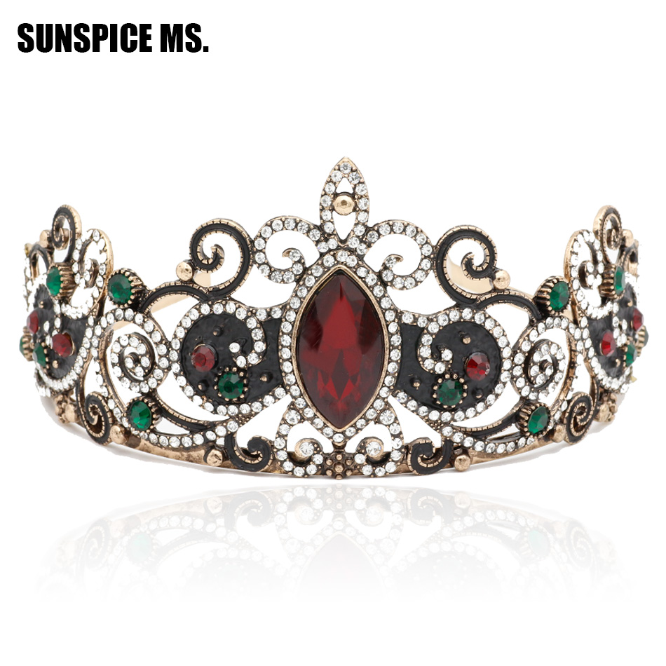 Elegant Princess Crown Women Tiaras Red Resin Flower Hair Queen Jewelry Antique Gold Crystal Ethnic Bride Wedding Beauty Crowns