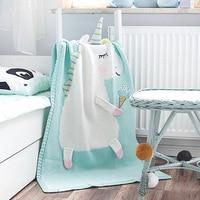 3D Animal Unicorn Handmade Knitted Muslin Blanket Baby Swaddle Blanket Cartoon Pink Kids Room Decoration Blankets