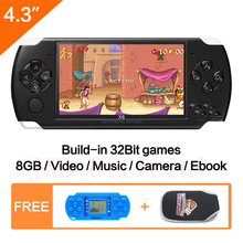 "FreeShipping 4.3""Handheld Game Console 8GB Portable Video Game built-in 1200+real reano-repeat free classic games support MP3/4"