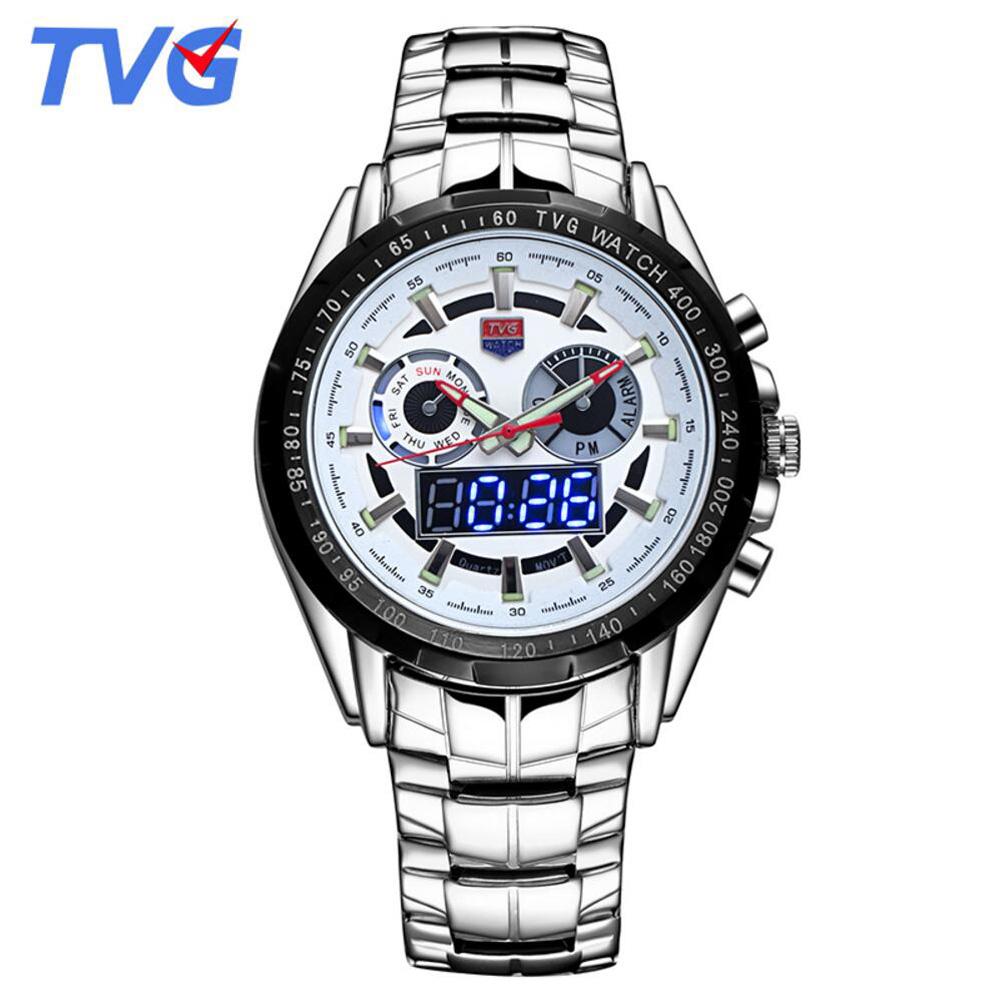 New Sports Men Watches Top Luxury Brand TVG Led Digital Analog Disply Quartz Watches Men Male Waterproof Clock Military Watches tvg 801 male double movt quartz digital watch