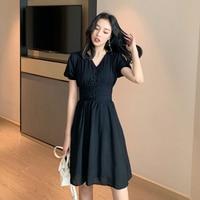 468f1b3dcb60f 2019 Summer Vintage French Style Women S Dress High Waist V Neck Slim Short  Sleeve Knee