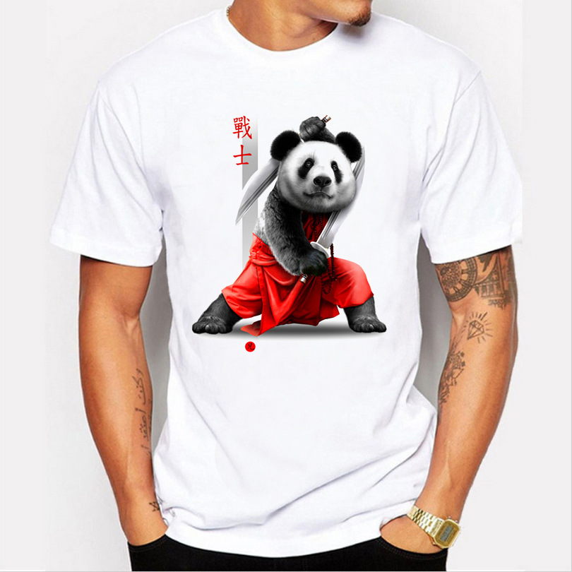 S-3XL 2017 Summer Fashion Funny mens Short Sleeve Hot Sell Double sword Warrior Cotton T-shirt Men Colorful Panda Brand Tops