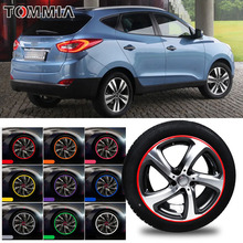 цена на 8M Car Wheel Hub Rim Edge Protector Ring Tire Strip Guard Rubber Decals For Hyundai ix35