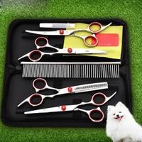 Pet Dog Grooming Scissors Hair Cutting Scissor Pet Accessories Shearing Scissors Set Tool Repair Hair Cut Bending Straight 5 PCs