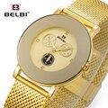 Belbi Marca Top Quartz Women Watch Feminino Hot Sale Da Moda Malha de aço Relógio de Pulso Das Senhoras Diamantes em Ouro Elegante Relojes 2016 relógio