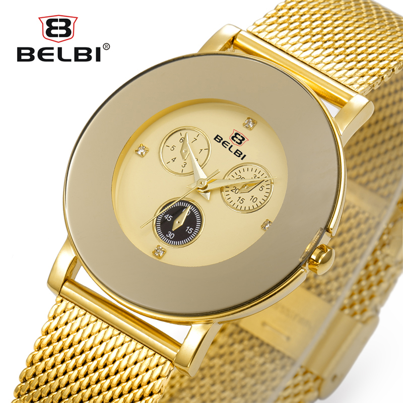 Belbi Top Brand Quartz Women Watch Female Hot Sale Fashion Steel Mesh Wrist Watch Ladies Gold Diamond Elegant Relojes 2016 Clock