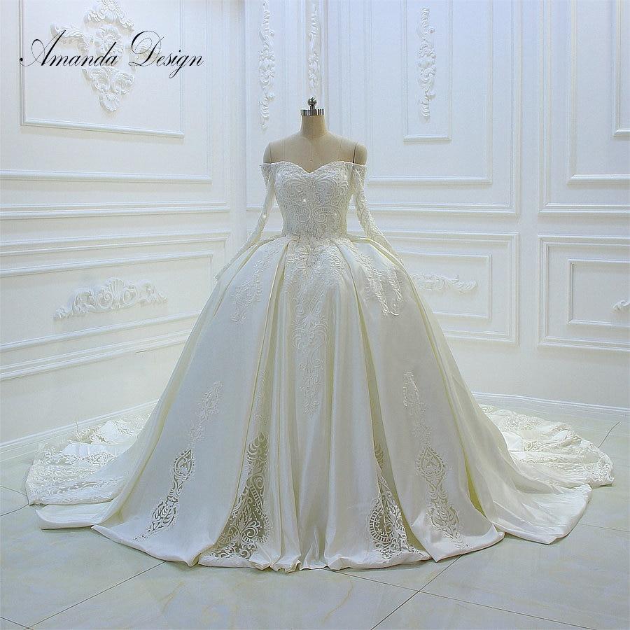 robe de mariee princesse de luxe Off Shoulder Long Sleeve Lace Applique Ball Gown Wedding Dress