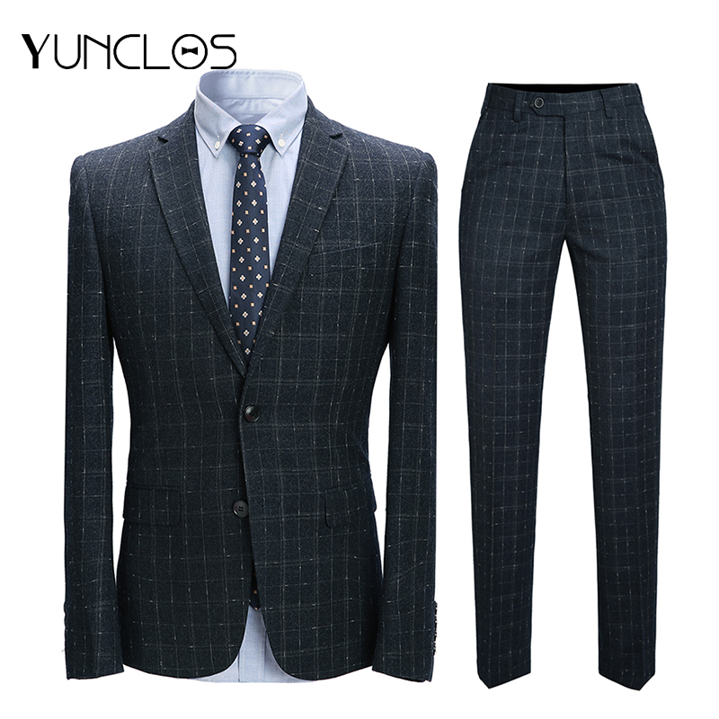 YUNCLOS Men's Suits Plaid Party-Dress Classic Wedding Slim Single-Breasted Casual 2pcs
