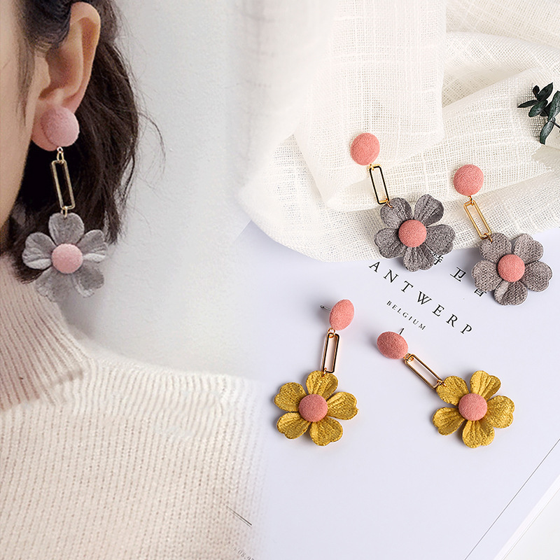 Japan and South Korea Simple Sweet Temperament Cloth Flowers Tassel Long Earrings Female