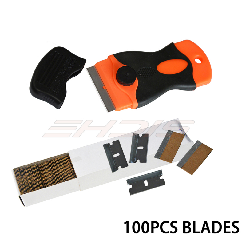 100PCS/Lot blades and 1PC razor Car Wrapping Window Tint Glue Removal Locking Razor Blade Scraper with Safety Cap CN051+CN058-US