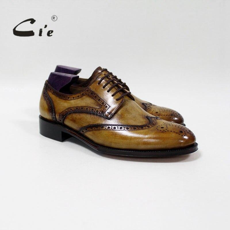 CIE goodyear welted ручной работы мужские кожаные shoe100% натуральной телячьей кожи мужские туфли на плоской подошве платье костюм дышащая обувь дерби D-01