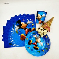 40pc Set Theme Cup Plate Napkin Mickey Mouse Party Supplies For Girls Party Decorations Party Supplies