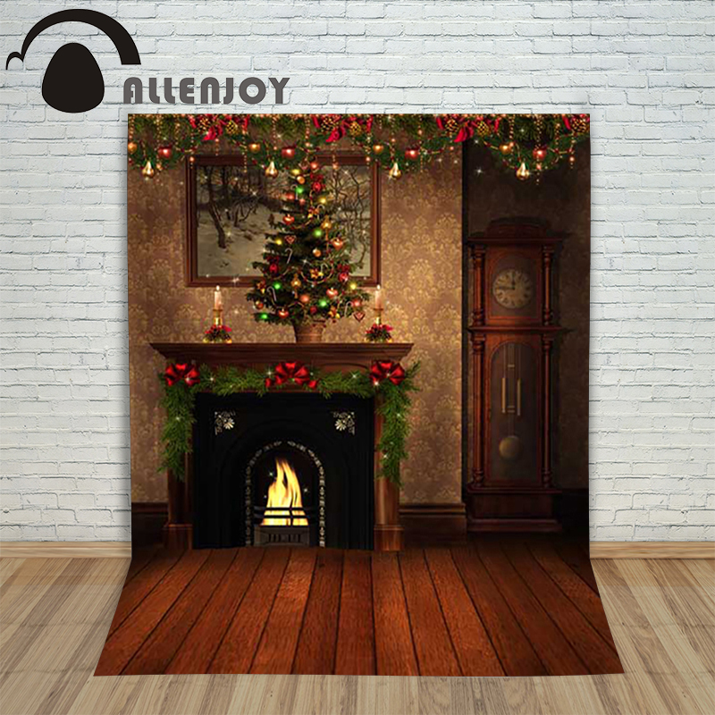 Background photography studio Christmas Wooden fireplace xmas retro background for photo shoots vinyl children's photographic