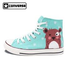 Ручная роспись Converse All Star обувь Женщины Мужчины Оригинальный дизайн снежинка мультфильм Медведь высокие холщовые кроссовки для подарков
