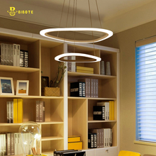 BIBOTE  New Modern pendant lights for living room dining room 4/3/2/1 Circle Rings acrylic LED Lighting ceiling Lamp fixtures modern pendant lights for living room dining room circle rings 3 rings 4 rings acrylic aluminum body led ceiling lamp fixtures