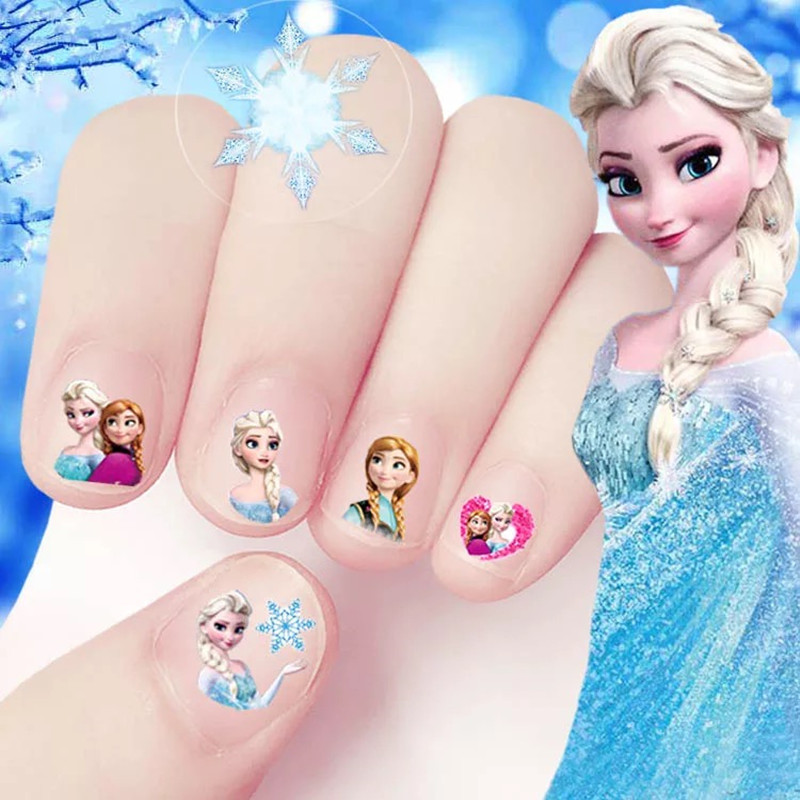 2017 hot sale cartoon Waterproof 3D Nails Sticker fairy princess Design Nails Foil Sticker Decor Decals for children little girl