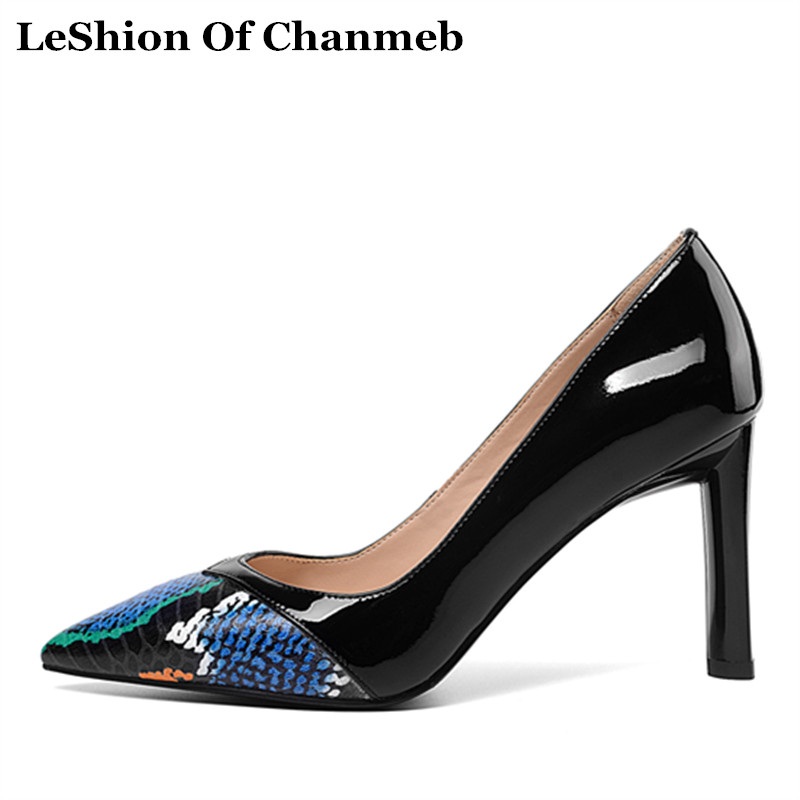 woman top quality real cow leather patchwork sneak printing pumps ladies spring summer single shallow shoes