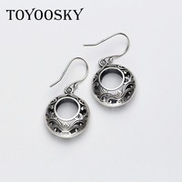 National Style Real 925 Thai Silver Elegant Stereo Hollow Round Drop Earrings For Women Lover Retro