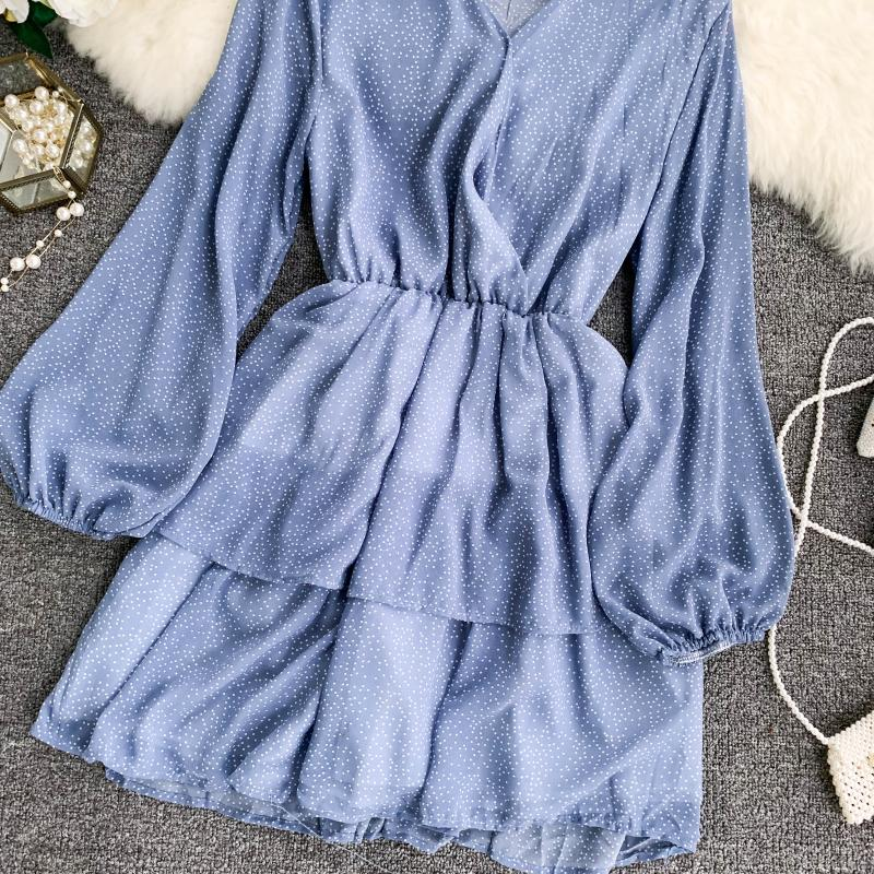 Korean Summer 2019 Sweet Women Dress Elegant V Neck Puff Sleeve Dot Print Dress Cascading Ruffle A Line Female Dress Vestido 52