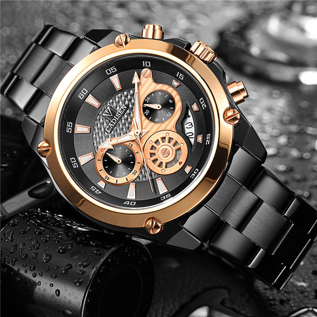 CADISEN Top Brand Luxury Mens Watch Full Steel Waterproof Sport Watches Fashion Quartz Military Wrist Watch Relogio Masculino mens watches top brand luxury cadisen military sport quartz chronograph watch men waterproof full stainless steel wrist watch