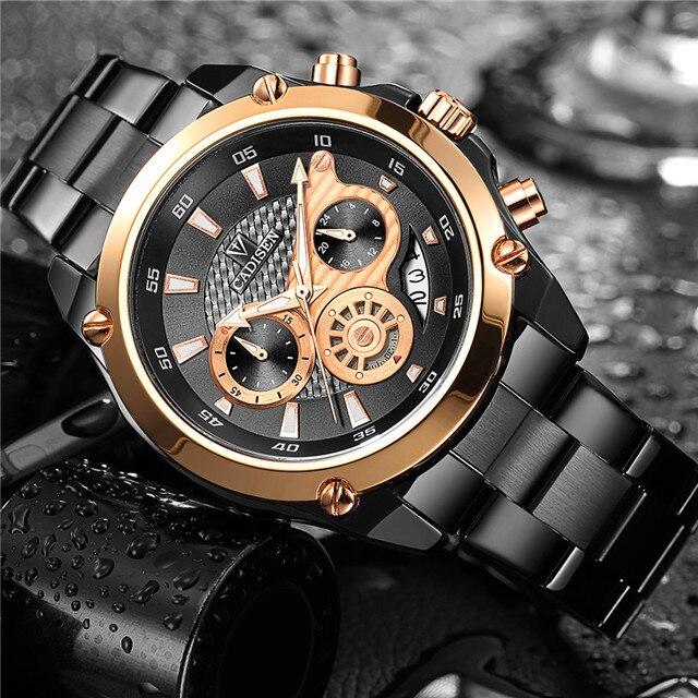 CADISEN Top-marke Luxus Herrenuhr Voller Stahl Wasserdicht Sport Uhren Mode Quarz Militär Armbanduhr Relogio Masculino