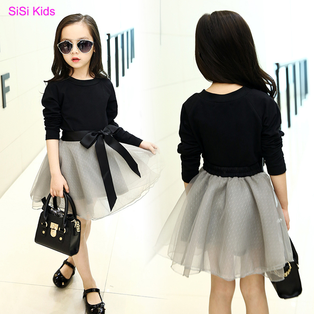 3-14Y, 2017 New Fashion Children Two-piece Set Girl Clothes Set Kids T-shirt and Skirt Baby Skirt Cotton Black Tops Bubble Skirt