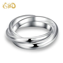 Hot Selling Three Circle Rings Interlocked Silver Color Ring for Men Women Party Ring Top Quality Wedding Bands(China)