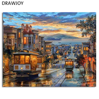 Europe Landscape Frameless Pictures DIY Painting By Numbers Wall Art Acrylic Painting On Canvas And Painted