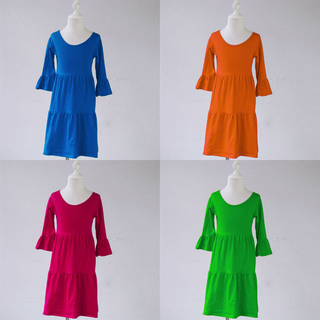 0ee71d0d9cce14 children toddler blank boutique solid color girls ruffle knit cotton  teenager clothes Casual smock dress kids baby frock designs