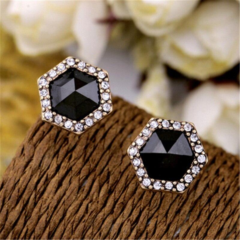 Pendientes de moda Vintage con pedrería de acrílico negro hexagonal elegantes pendientes de aleación geométrica para mujer Nueva joyería 2017
