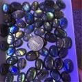 Das Senhoras Das mulheres Natural Labradorite Gems Pedra Ellipse Forma Oval Rainbow Light Charme Cabochão Contas de Cristal Para O Anel 1 Peça