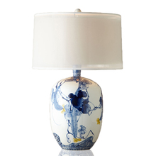 New Chinese Blue Colored Pattern Ceramic Table Lamp Office Lamps Belly  White Art Living Room Decorative