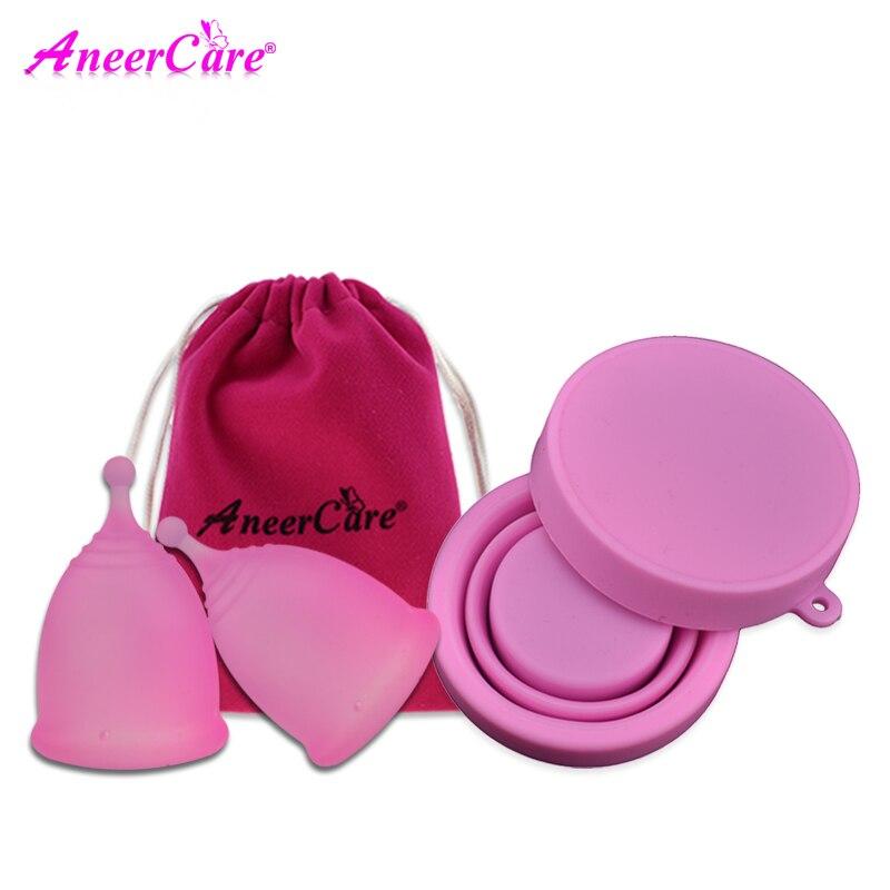 купить 2 Pcs Copa Menstrual Lady Cup For Women Menstrual Coletor Menstrual Cup Feminine Hygiene Copo Menstrual De Silicone sterilizer недорого