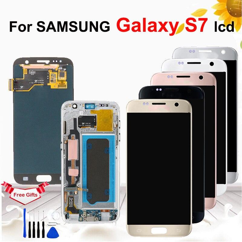 5.1 ''AMOLED Burn-shadow LCD avec cadre pour SAMSUNG Galaxy S7 G930 G930F LCD écran tactile numériseur outils de remplacement