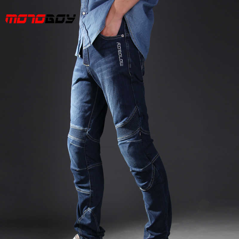 MOTOBOY Moto Traspirante Pantaloni Elastici Motosiklet Pantalon Moto Pastiglie Indossabile Motocross Moto Jeans Pantaloni Big Size