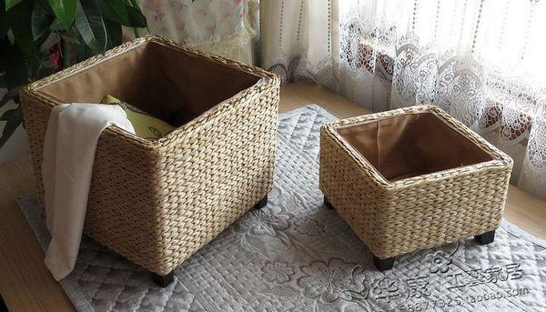 Ikea semplice rattan giardino sgabello di stoccaggio sgabello
