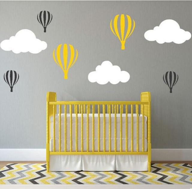 Colorful clouds hot balloon wall sticker creative cartoon decal mural removable wallpaper for kids nursery room