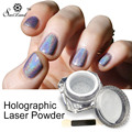 1 Box Holographic Laser Powder Punk Nail Glitter Metal Pigments Dust Nail Decoration Rainbow Chrome Powder