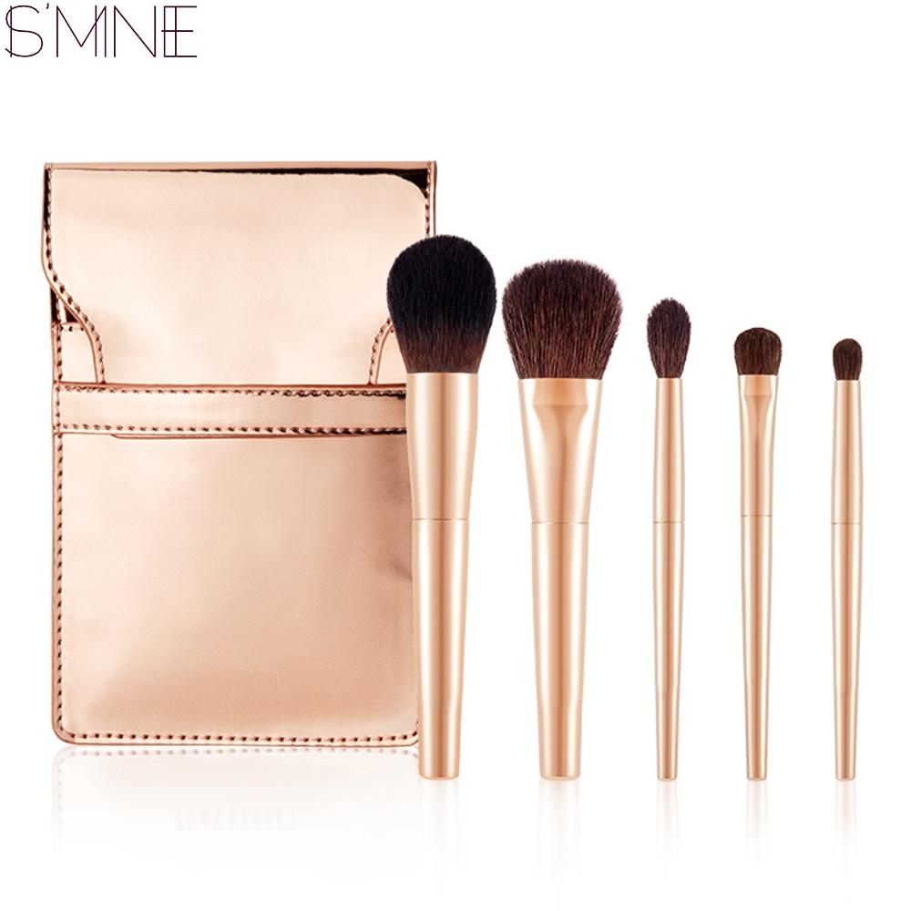 ISMINE 5 Pcs Bling Gold Handle Makeup Brushes Set Foundation Blusher Cosmetics Make Up Brush Eye Shadow Brushes with Bag