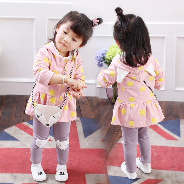 3-Pieces Cute Fox Hoodie and Pants Set with Fox Design Bag for Girls