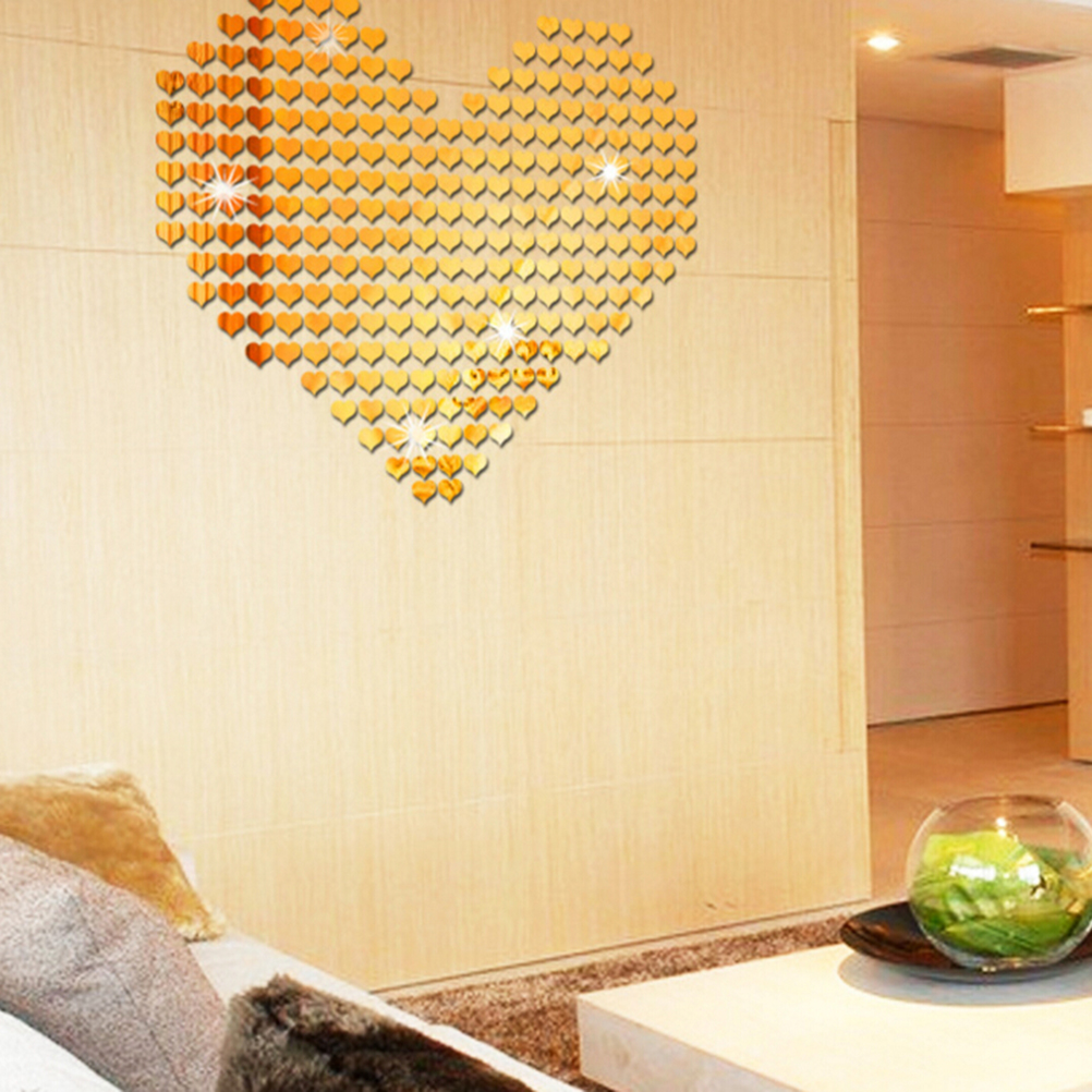 MENGXIANG 100pcs /set Gold Sliver 3D Heart Wall Sticker Acrylic ...