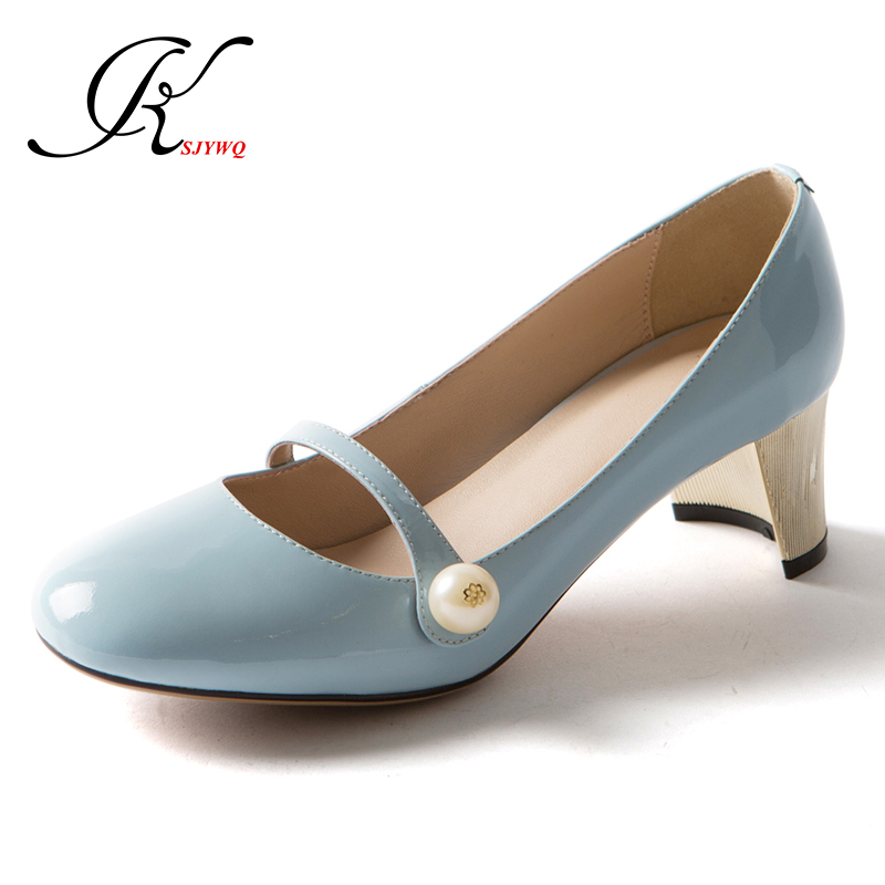 Women pumps Sexy young girls high heels shoe 5 cm heel Size 34-39 Pearl and Genuine leather Summer dress shoes Woman for Wedding