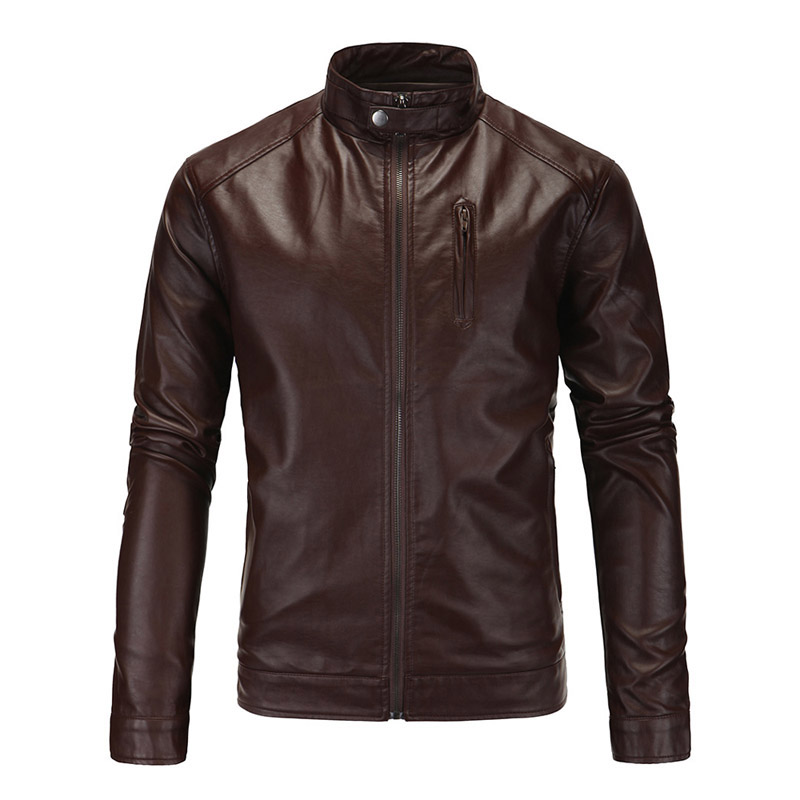 New Motorcycle Jacket Classic Vintage Mens PU Leather Jackets Brown Biker Jacket Coats Stand Collar Male Moto Riding Jaqueta pu leather spliced stand collar zip up jacket