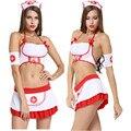 Mujeres traje Atractivo de la Enfermera disfraces eróticos lencería sexy Halter neck uniforme Tanga falda cosplay juegos de rol ropa Corsé liga