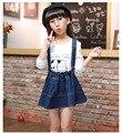 Girls Sport Suit 2 Pieces Cotton Clothes Set Autumn Children Fashionable tide van T-shirt+dress HB2039