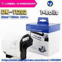 1 rolo genérico DK-11202 etiqueta 62mm * 100mm compatível para a impressora da etiqueta do irmão todos vêm com suporte plástico 300 pces/rolo