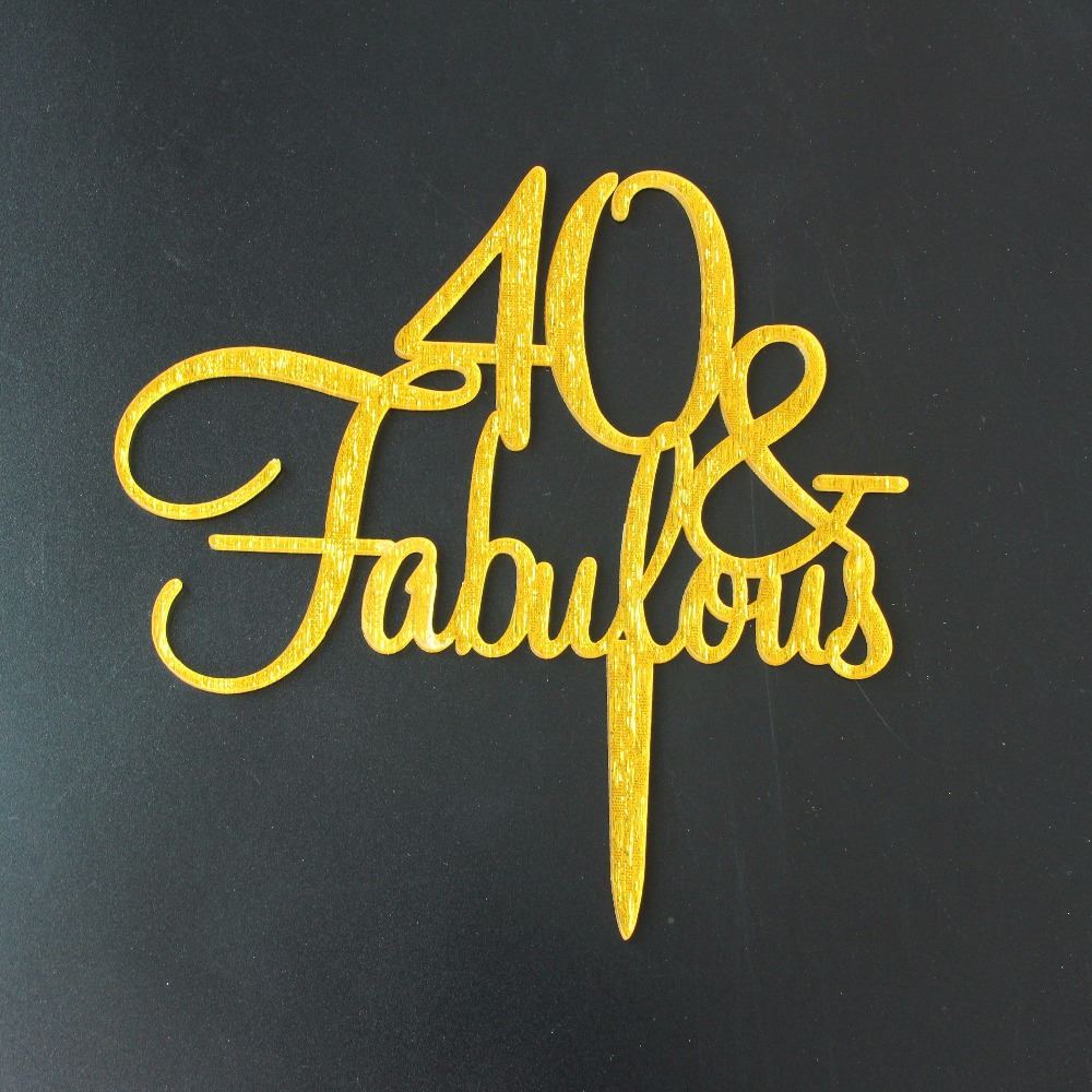 Gold/Silver/Black Glitter Happy 40th Cake Topper Forty Birthday or ...