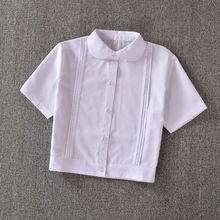 "Super Cute ! Schoolgirl Peter Pan collar short-sleeve White shirt "" Hem folds organ pleated """