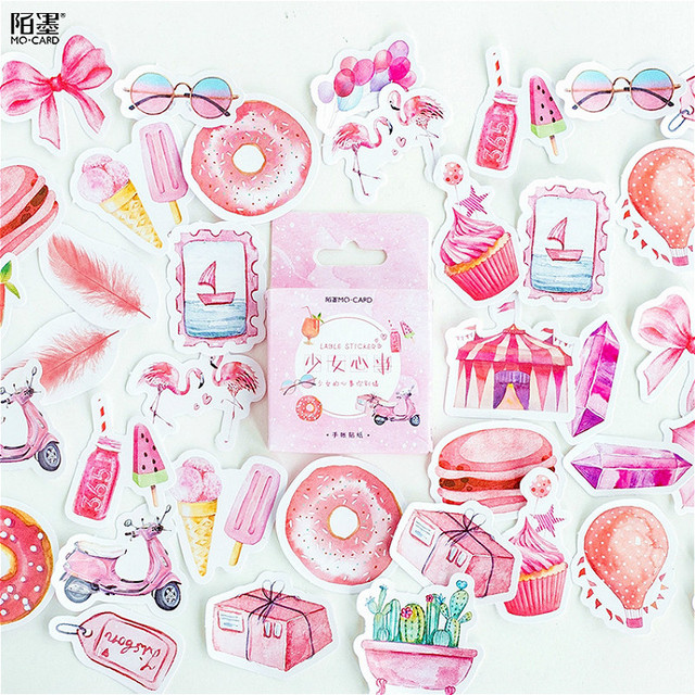 45 unids/set kawaii Bloc de notas Linda Rosa chica corazón patrón planificador decoración diario suministros escolares papelería publicado pegajoso